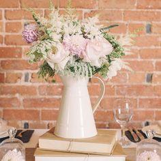cream metal jugs wedding table decorations / http://www.himisspuff.com/astilbes-wedding-ideas/6/