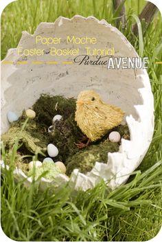 Paper Mache Easter Basket Tutorial. Super cute!