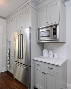 I have a small kitchen so I need to find ways to maximize storage. Searching for images of cabinetry surrounding the refrigerator on both sides. This is as close as I could get. Closing the swing door to the dining room will allow for a wall of pantries on both sides of our fridge. I am also creating a microwave and coffee area like this on an adjoining wall which will allow for a hood . So excited!!! I couldn't take the color leap though...I went with white... I feel, for me, that would m