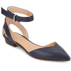 Halston Heritage Point-Toe D'Orsay Flats ($70) ❤ liked on Polyvore featuring shoes, flats, navy, ankle strap flats, pointed toe shoes, pointy-toe flats, ankle tie flats and leather flats