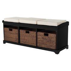 Entryway Bench with 3 Baskets/Cushions - Black Quick Information Laundry Room.Entryway Bench with 3 Baskets/Cushions – Black Quick Information Entryway Bench Storage, Entry Bench, Entryway Furniture, Bench Furniture, Bench With Storage, Storage Baskets, Furniture Ideas, Extra Storage, Shoe Storage