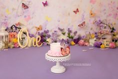 Purple Butterfly Cake, Butterfly Cakes, Butterfly Party, First Birthday Photos, Floral Cake, Cake Smash, First Birthdays, Children, Girls