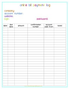 Monthly Bill Pay Checklist Free Printable  Free Printable Free