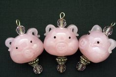 Pink Pig Head Lampwork Glass Bead/Pendant/Charm(Pack of 2 beads)(L01021). $8.00, via Etsy.