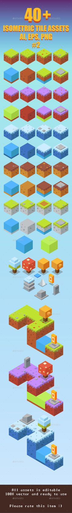 Game Asset : 41 Isometric Tiles #2 — EPS Template
