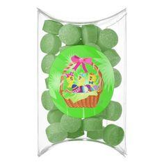 Easter Basket of Chicks n Eggs PillowBox GumFavors by #MoonDreamsMusic #GreenWatermelonGumFavors #PillowBoxFavors #EasterBasket #EasterChicks #EasterEggs