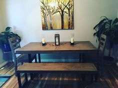 "Leah and Jamie sent us this picture of their new dining set with this message ""My dream table come true!"" This is what makes our job so rewarding:) #happycustomers #downtowncourtenay #happyholidays"