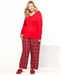 Charter Club Plus Size Holiday Lane Top and Flannel Pajama Pants Set Women  - Bras 958a2f670