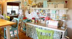 Blogger Craft Room Tour - Organizing Craft Supplies - Good Housekeeping - cut shower curtain as table skirt!! GENIOUS!!