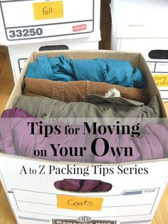 Organized Moving Tips : A to Z Packing Tips: Ready to move homes and need some help at getting organized? Here are some great moving tips to help you get on your way! I Packing Tips Moving House Tips, Moving Home, Moving Day, Moving List, Moving Clothes, Packing Clothes, Moving Hanging Clothes, Packing To Move, Travel Packing