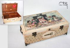 Näh / Stricknadeln Box mit Nadelkissen für vielen Kleinigkeiten (Stricknadeln, Nadeln, Pins, Gewinde, Fingerhut und Tasten ezt.)  ca. 31 x 18,5 x 11