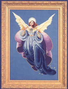 Blackwork Angels - Cross Stitch Pattern from Prairie Schooler. Model stitched over two on 32 count Antique White Belfast Linen using DMC floss and Kreinik. DMC floss 3820 may be substituted for the gold braid. Maximum stitch count: 33 x Book Cross Stitch Fairy, Cross Stitch Angels, Cross Stitch Kits, Counted Cross Stitch Patterns, Cross Stitch Charts, Cross Stitch Designs, Cross Stitch Embroidery, Angel Of The Morning, Everything Cross Stitch