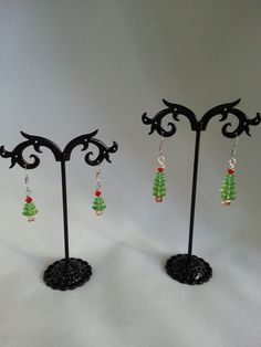 Genuine Swarovski crystal Christmas tree earrings - green 3 and 6 tier with red and orange