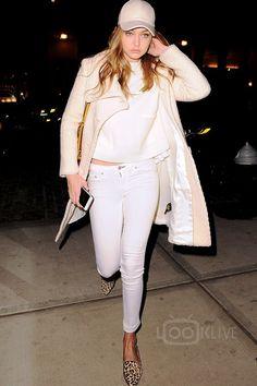 Gigi Hadid wearing  Maumero  Jasper , Miu Miu Pre-Fall 16 Bag, Mackage Textured Wool Coat (similar)