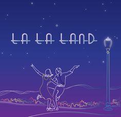 la la land (2016)  movie poster line art illustration