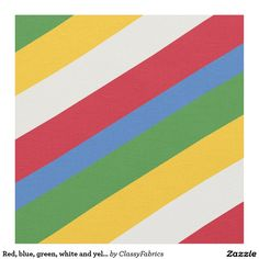 Red, blue, green, white and yellow striped pattern fabric