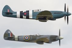 The Supermarine Spitfire Mk.XIX F-AZJS / PS890 showing this mark's contra-rotating propellers to good effect. Spitfire Mk.XVIIIe G-BUOS / SM845 flying alongside provides a useful comparison.