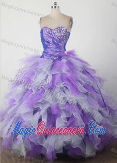 Sweetheart Beading Ruffles Quincenera Dresses in Purple and White