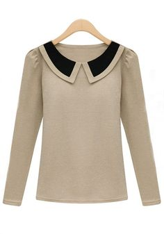 Apricot Lapel Long Sleeve Wrap Cotton T-Shirt $42