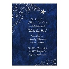 Silver Falling Stars Blue Prom Formal Invitations