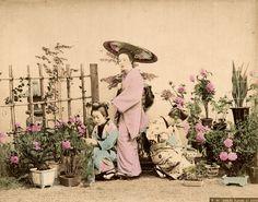 Ogawa Kazumasa Singers Playing Garden Original Handcolored Photo Japan 1890 L355 | eBay