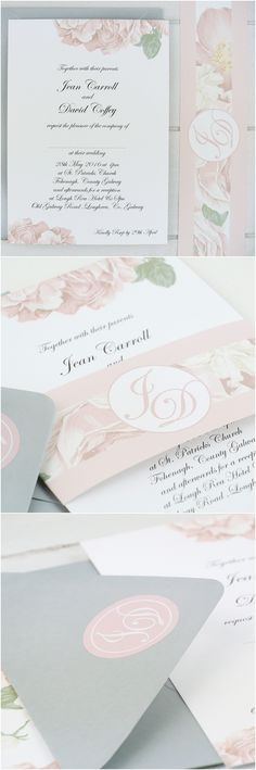 Blush pink peony rose wedding invitation with personalised wedding monogram, belly band and stickers by peonyandrose.co.uk