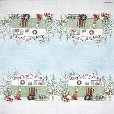 Paper Napkin - Christmas Caravan Paper Napkins For Decoupage, Party Napkins, Caravan, Light Colors, Lunch, Holiday Decor, Christmas, Xmas, Bright Colors