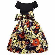 Flirty African Wax Print Ankara Full Knee Length Skirt with Sash (Orange Floral)