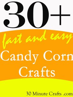 Fast Candy Corn Crafts for Halloween - 30 Minute Crafts Quick Halloween Crafts, Fun Diy Crafts, Easy Crafts For Kids, Holidays Halloween, Halloween Fun, Holiday Crafts, Holiday Ideas, Halloween Decorations, Candy Corn Crafts