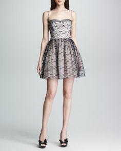 T6U5L RED Valentino Lace Bustier Dress, Blush/Black