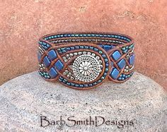 Blue Beaded Leather Cuff Wrap Bracelet - The Queen of Diamonds in Blue Suede - Custom size it! by BarbSmithDesigns on Etsy Beaded Leather Wraps, Leather Cuffs, Leather Jewelry, Leather Cord, Beaded Wrap Bracelets, Beaded Jewelry, Cuff Bracelets, Bangle, Diy Jewelry To Sell
