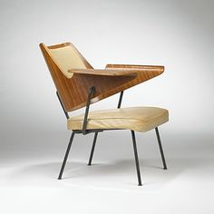 Robin Day; Molded Plywood, Leather and Brass Armchair for Hille, 1951.