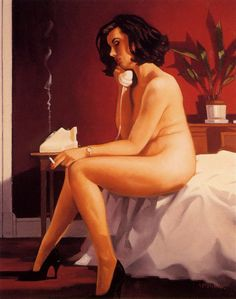 """Cigarette call, Jack Vettriano -  I love how Vettriano captures a """"real"""" woman's beauty in her mature figure."""