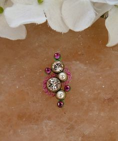 Tribal Bindi hand made with Swarovski crystals and elements (gold tone) - bollywood and belly dance style, pink and green Indian Jewelry Earrings, Dance Fashion, Bindi, Belly Dance, Pink And Green, Swarovski Crystals, Bollywood, Gems, Stud Earrings