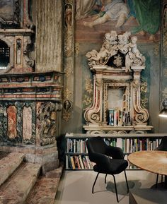 architect massimiliano locatelli converted a 16th century church in milan—complete with original frescoes, an altar and a crypt—into his firm's office