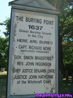 Salem, Mass. The Burying Point of the men that were the Salem Witchcraft Court in 1637.