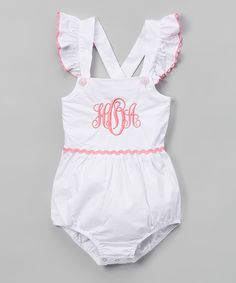 Look at this White & Pink Monogram Bubble Romper - Infant & Toddler on #zulily today!