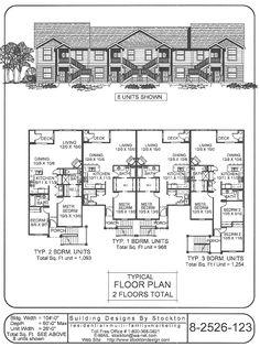 Triplex plan j891 t 2 bedroom 2 bath per unit multi for 8 plex apartment plans