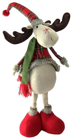 This cute Northlight Seasonal red and green plaid 2 leg standing deer is the perfect addition to your Christmas decorations. Moose Crafts, Xmas Crafts, Diy And Crafts, Christmas Moose, Christmas Sewing, Diy Christmas, Seasonal Decor, Holiday Decor, 242