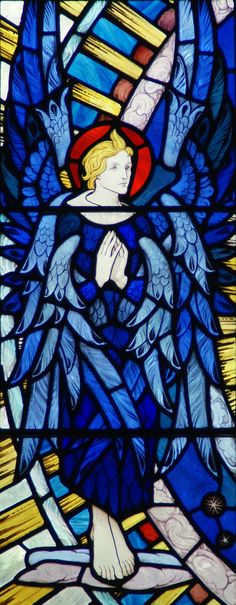 The right hand Seraphim in Reginald Farrar-Bell's east window in All Saints, Stock Havard. Stained Glass Church, Stained Glass Angel, Stained Glass Windows, Leaded Glass, Mosaic Glass, I Believe In Angels, Angeles, Angel Art, Religious Art