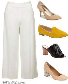 cropped wide leg pumps flats heels | 40plusstyle.com