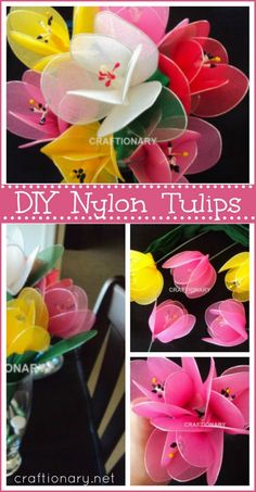 Make tulips with this DIY nylon tulips tutorial. How to make nylon flower tulips with stocking net or simply stocking. An old art of making handmade tulips.