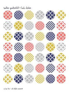 quatrefoil patterns 1 inch circles, collage sheets, pink mustard yellow navy blue bottlecap images, trellis patterns 624