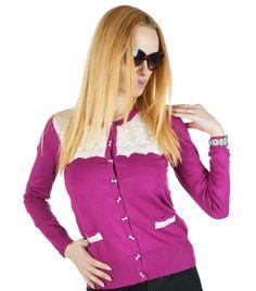 Pulover Dama Sensei  Pulover dama din material fin, ce poate fi purtat atat in sezonul rece cat si in cel cald. Design modern, stil cardigan, ce ve va pune in valoare orice tinuta.  Detaliu - insertie fina de dantela si matase, ce ii confera un plus de eleganta si stil.     Lungime: 56 cm  Latime talie: 39  Compozitie: 45% Lana,35% Acryl,15% Elasten,5% Matase Sweaters, Fashion, Moda, Fashion Styles, Sweater, Fashion Illustrations, Sweatshirts, Pullover Sweaters, Pullover