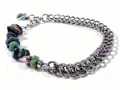 Margot - Half Persian Chainmaille and Semi Precious Stones Bracelet (Fancy Jasper) - Saniki Creations