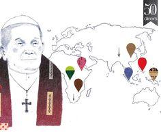 ¿Qué será de los creyentes? El panorama de las religiones en los años por venir será el de un mapa en plena reconfiguración: menos creyentes, menos católicos, más protestantes y, tal vez, un papel relevante para las mujeres. 50th Anniversary, Magazine, Inventions, Behance, Art, Maps, Journals, Illustrations, Future Tense