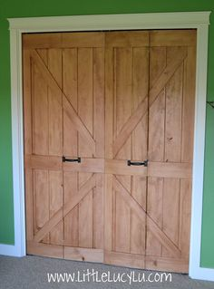 barn door-style bi-fold doors.  awesome!  Little Lucy Lu: From Bi-Fold to Barn Doors - Max's Closet!