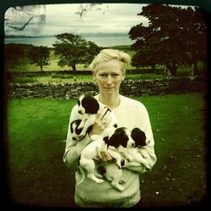 Tilda Swinton with her English Springer Spaniel puppies.