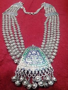 Pakistan | Elaborate sterling silver and enamel Multan necklace.