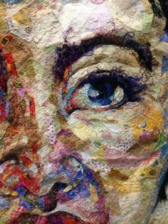"""love the use of loose threads in the eyebrows and lashes.""""Shattered Face Quilt"""" by Kathryn Harmer Fox bloominginchintz. Fiber Art Quilts, Textile Fiber Art, Textile Artists, Face Collage, Collage Art, Thread Painting, Silk Painting, Creative Textiles, Quilt Festival"""